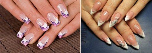 Нарощенные ногти фото с французским маникюром